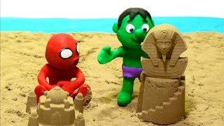 Sand castles fun 💕Superhero Clay Stop motion videos
