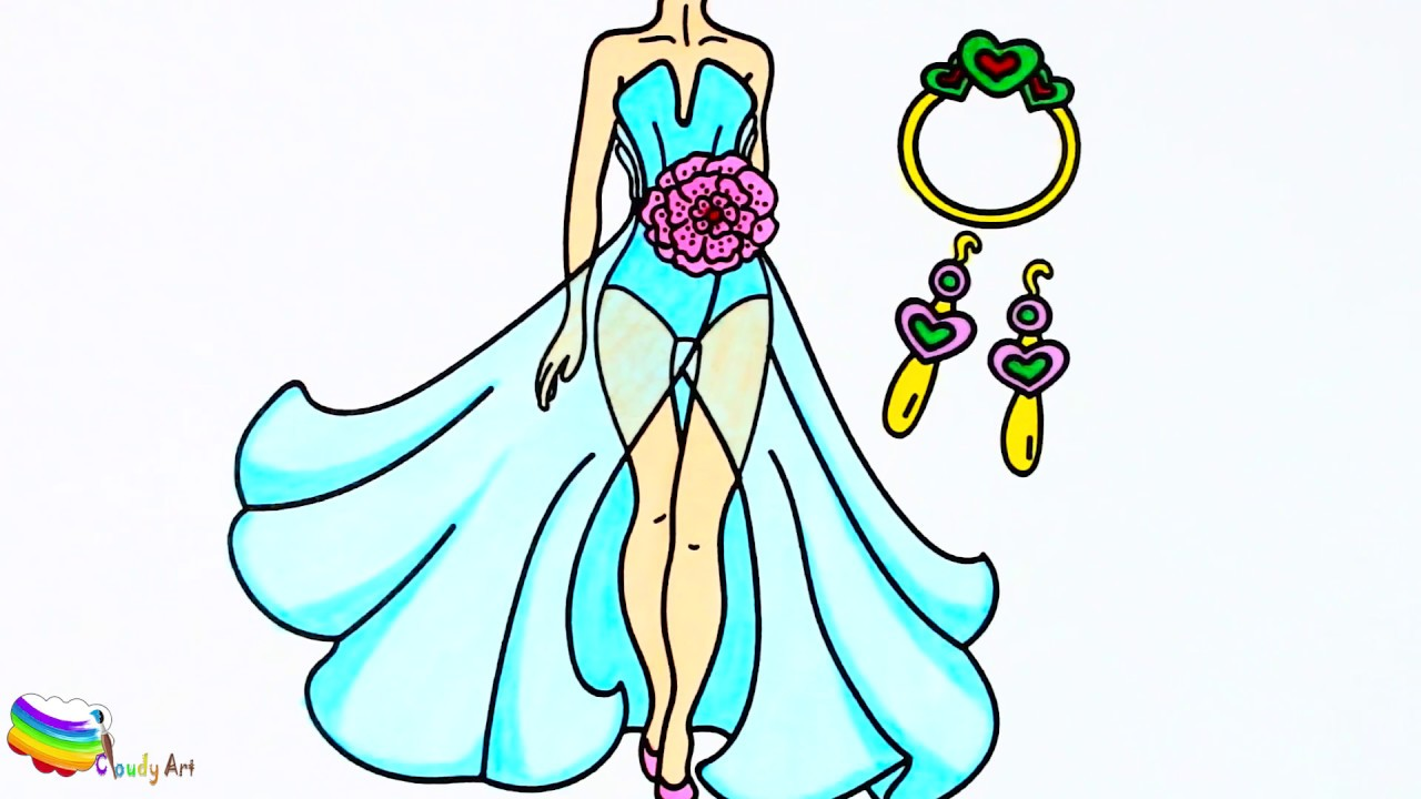 how to draw dresses earrings necklace accessories for girls