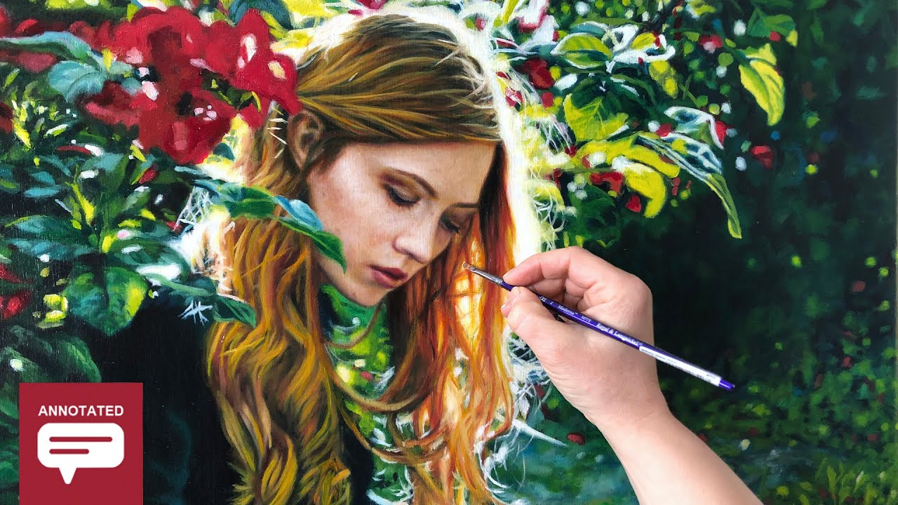 HOW TO PAINT A WOMAN WITH RED HAIR + FLOWERS - Annotated Painting Demo Tutorial
