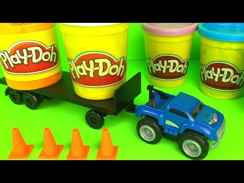 MAX TOW TRUCK'S MINI HAULERS WITH A TRAILER -TEST THIS MIGHTY MACHINES POWER BY PULLING PLAYDOH CANS