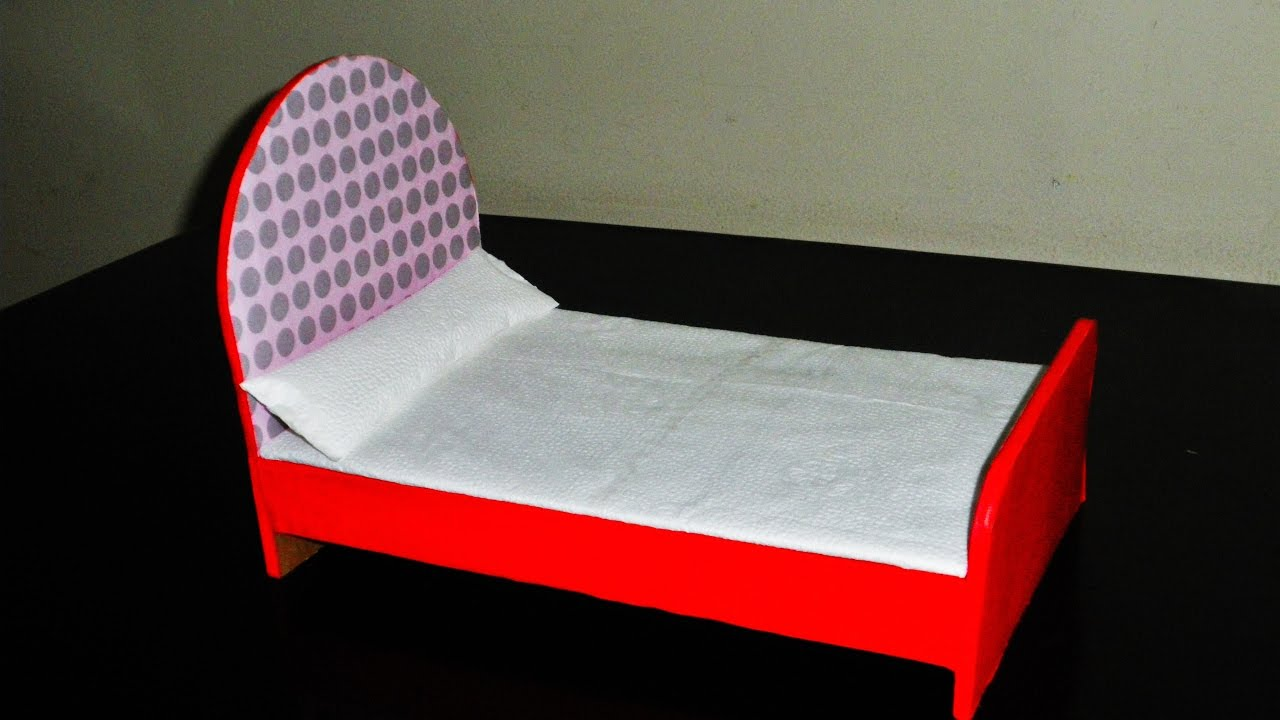DIY  How to Make a Cardboard Bed for Doll  Made With