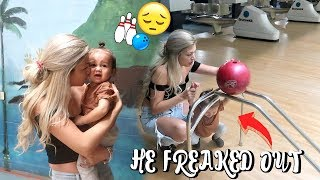 BABY'S FIRST TIME BOWLING *HE FREAKS OUT*