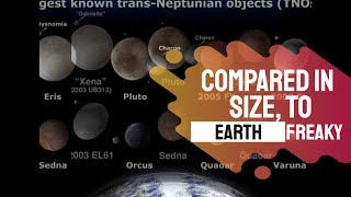 Compared in size, to the Earth - Moons and small objects in the Solar System
