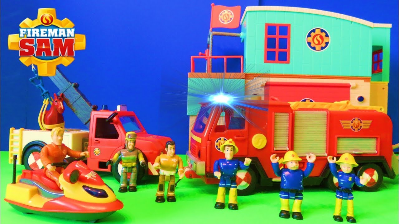 Brandweerman Sam Garage : Fireman sam deluxe jupiter fire engine toy unboxing