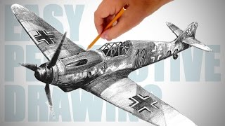 How to draw WW2 aircraft (Messerschmitt Bf 109) - Easy Perspective Drawing 26