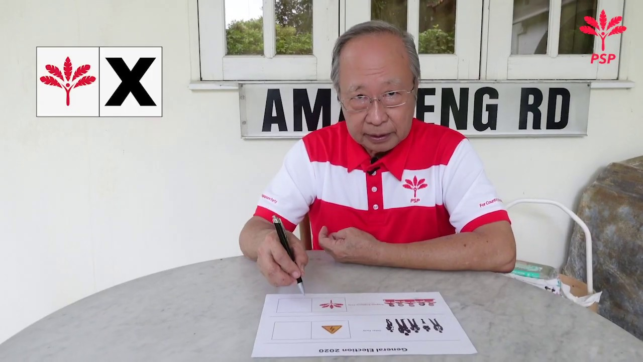 Dr Tan Cheng Bock shows you how to vote correctly for Progress Singapore Party on July 10