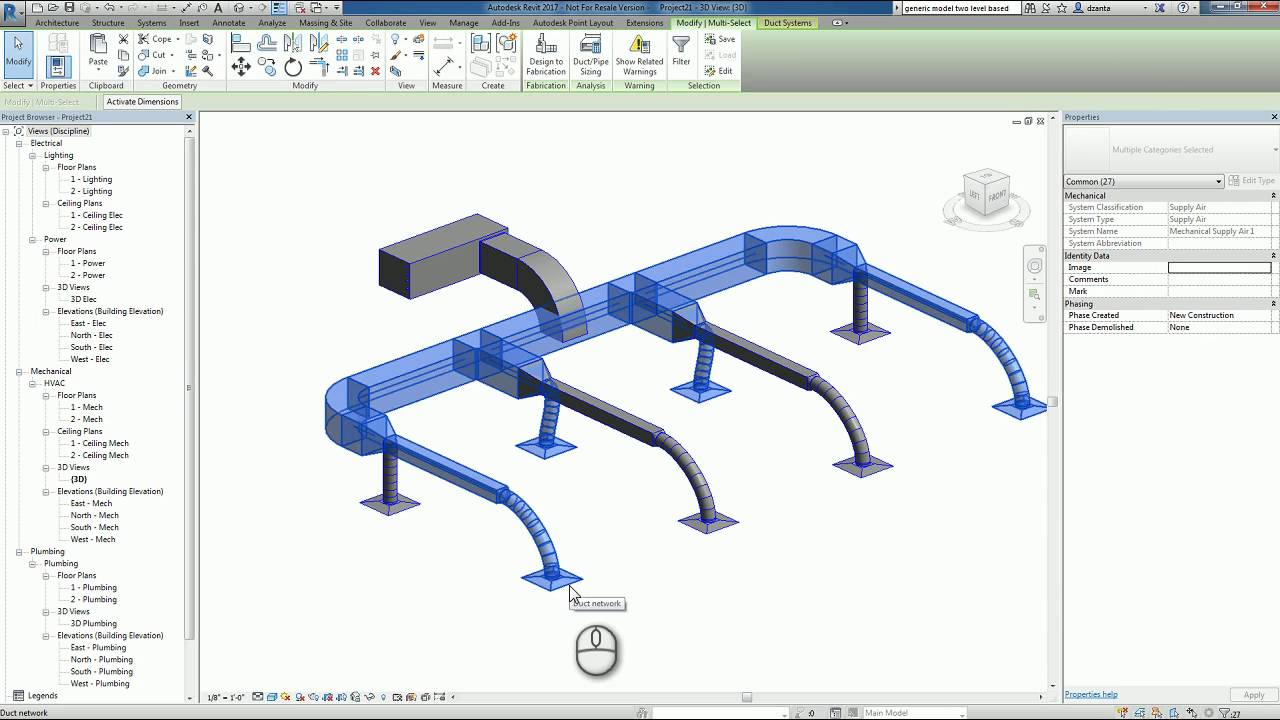 Revit Hvac Duct System A How To Guide Youtube
