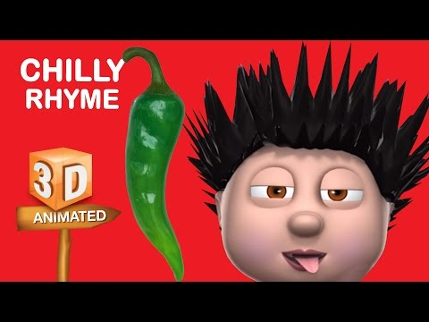 Chilly Rhyme | Nursery Rhymes With Lyrics For Kids | Vegetable Rhymes | Rhymes 3D Animation