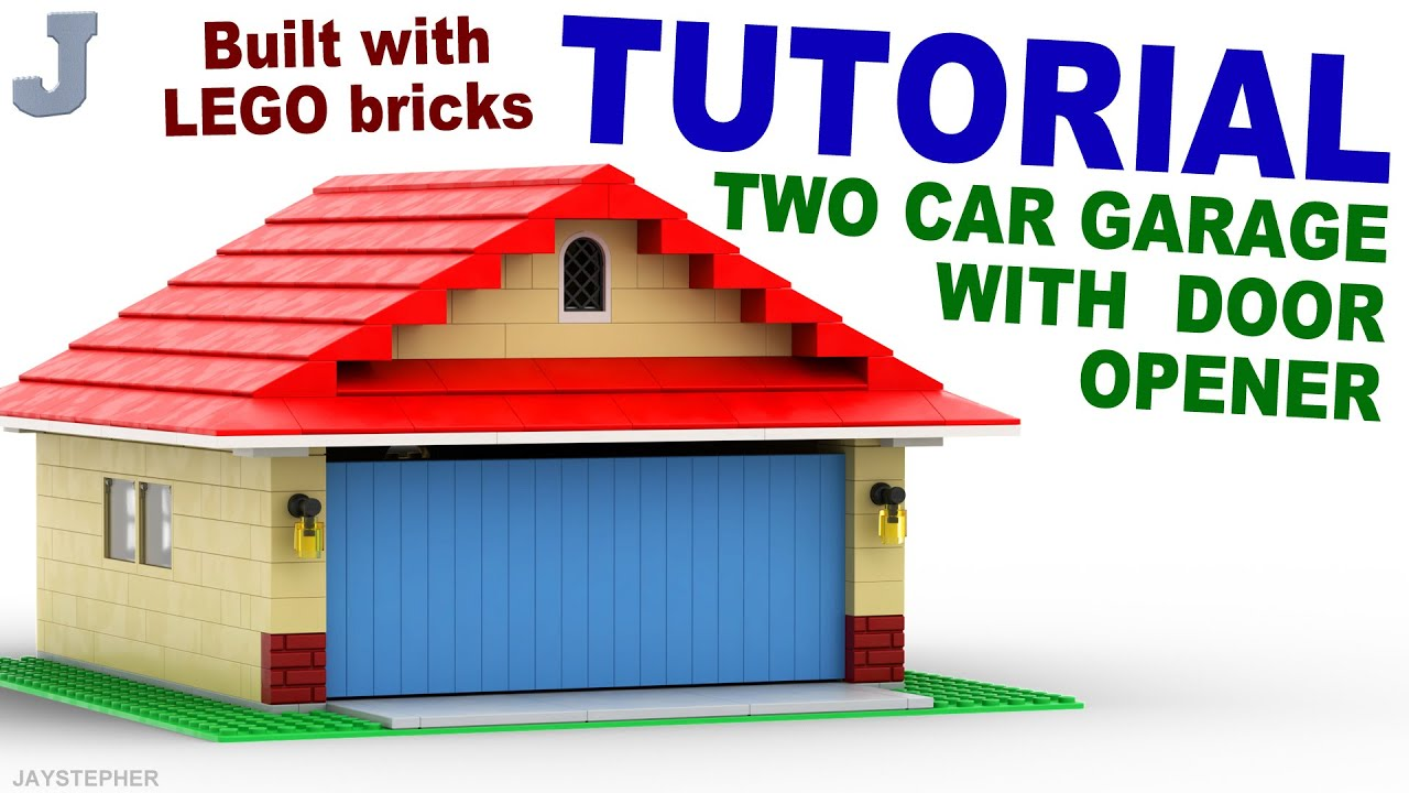 Lego Two Car Garage With Door Opener How To Tutorial Youtube