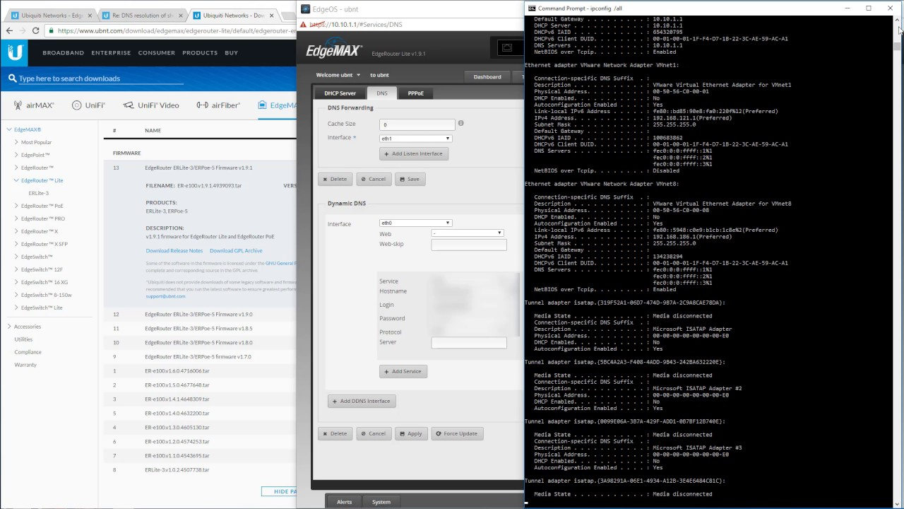 DNS short name lookup fails on Ubiquiti EdgeRouter firmware v1 9 1, here's  the simple fix