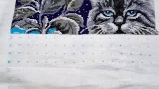 """(14) Лунный кот. Вышивка бисером по схеме от """"Золотых ручек"""" самоподбором."""