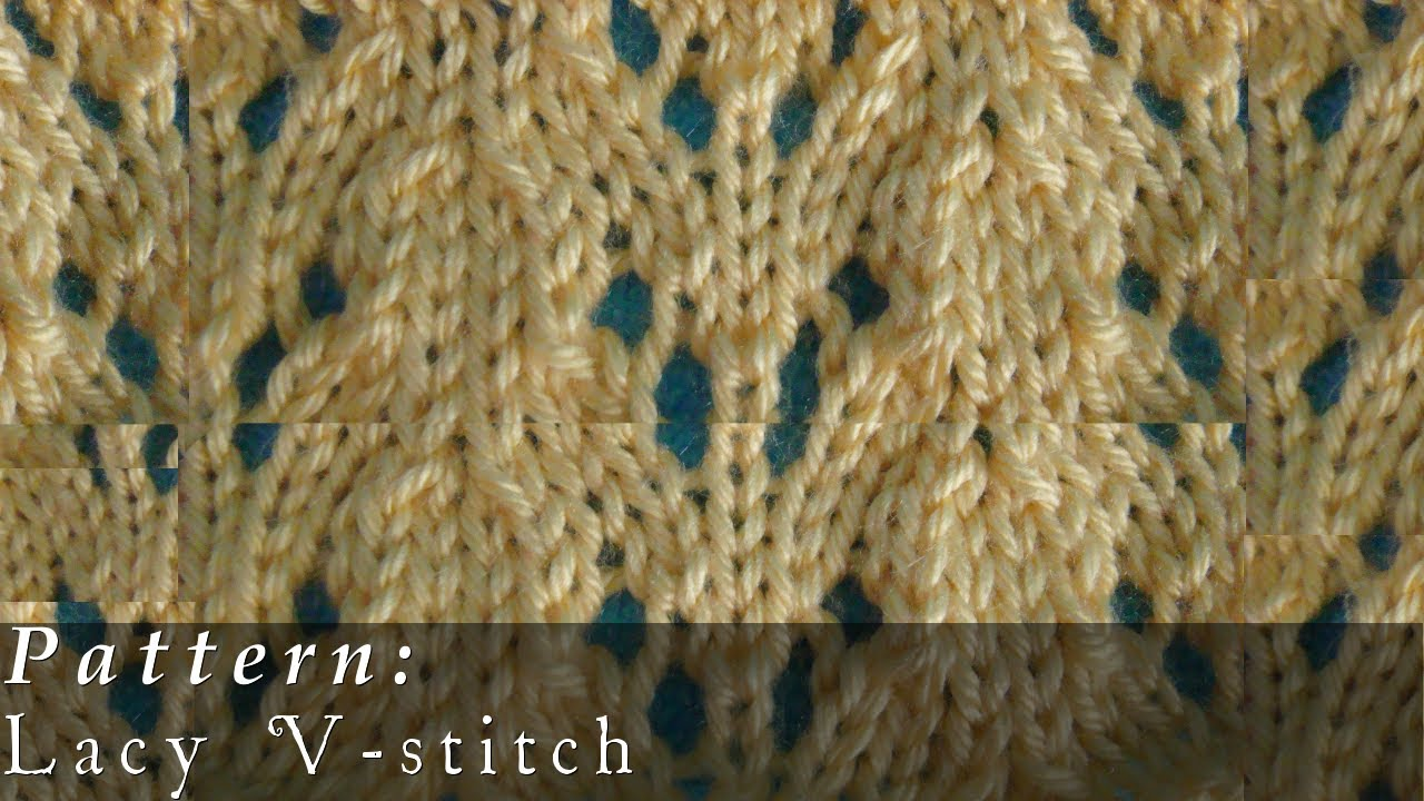 Lacy V-stitch | Knit Pattern | Easy - YouTube