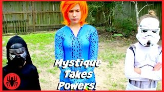 New Kids X-men Mystique takes the powers w frog, superhero real life movie fun comic SuperHeroKids