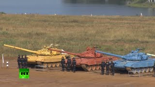 Tank biathlon video: Armored races, precision gunnery at 1st competition nr Moscow