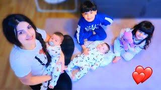 يوم كامل مع طفلين وتوأم  (حديثي الولادة)