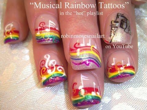 Cute Music Note Nail Art! Rainbow Nail Design Tutorial