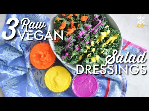 3 Raw Vegan Salad Dressings w/ Only 3 Ingredients!   Easy + Plant-based