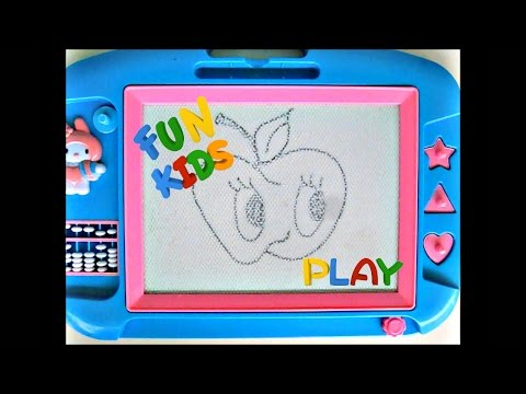 Learn to draw Magnetic drawing board with pen and stampers, kids doodle sketch
