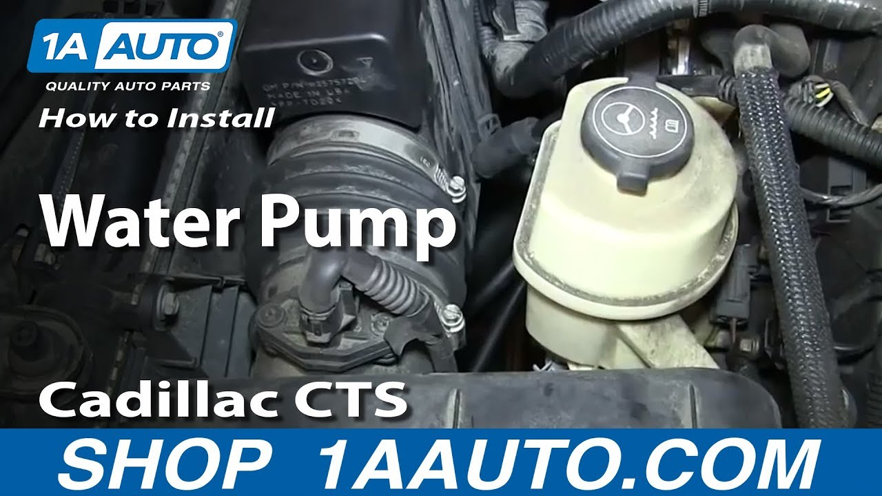 how to install replace water pump 2 8l 2003 10 cadillac cts youtube rh youtube com 2003 Cadillac CTS Parts Diagram 2003 Cadillac CTS Radiator Diagrams