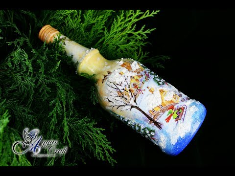 Decoupage Tutorial - Christmas Themed Bottle - DIY Tutorial