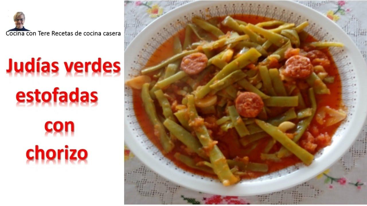 Jud as verdes estofadas con chorizo cocina con tere for Cocinar judias verdes de bote