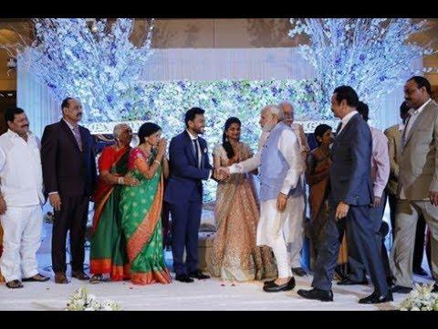 PM Narendra Modi Arun jetly attend to TDP MP Ram Mohan Naidu Marriage Reception