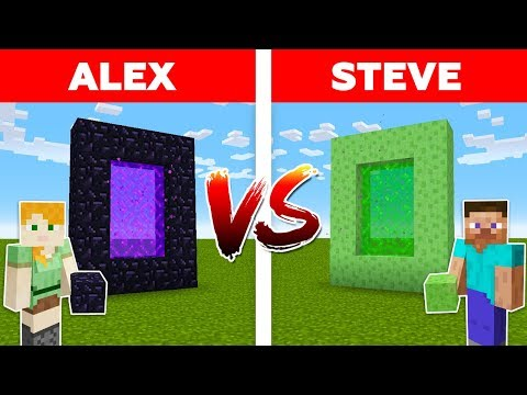 MINECRAFT - ALEX vs STEVE! SLIME PORTAL vs NETHER PORTAL / Minecraft Animation #3