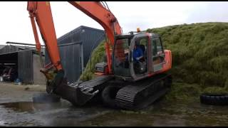 How to get 13 ton digger off the silage pit - 2015