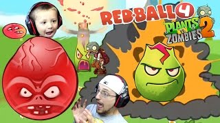 ZOMBIE BALL!? Chase/Dad play Redball 4: THE BOSS + PVZ 2: Lava Guava New Plant & Lost City World