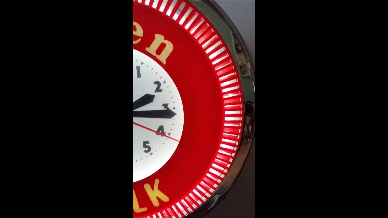 Vintage Spinner Clock Glass Neon Arden Milk Dairy Farm Diner Decor Red White