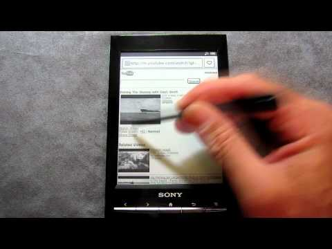 Sony PRS-T1 eReader checking gmail, facebook and audio functions.
