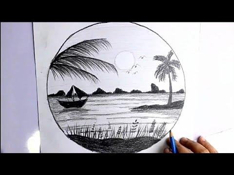 رسم منظر طبيعي سهل بالرصاص للمبتدئين خطوة بخطوه ابسط طريقه رسم