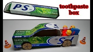 How to make a truck with a toothpaste box ✔