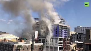 Demolition Of Cranes At Collapsed Hotel In New Orleans  2019
