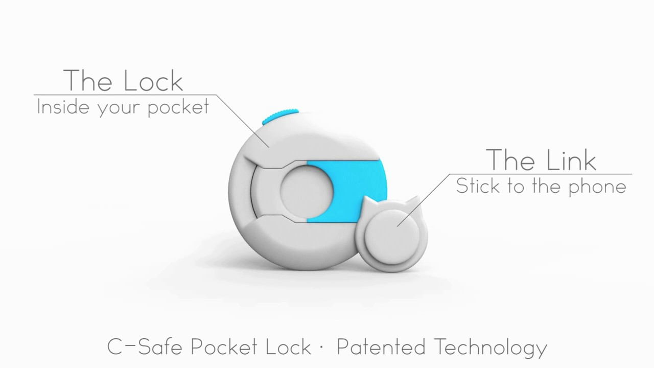 c-safe anti-drop anti-thief pocket lock for mobile phone wallet valuables