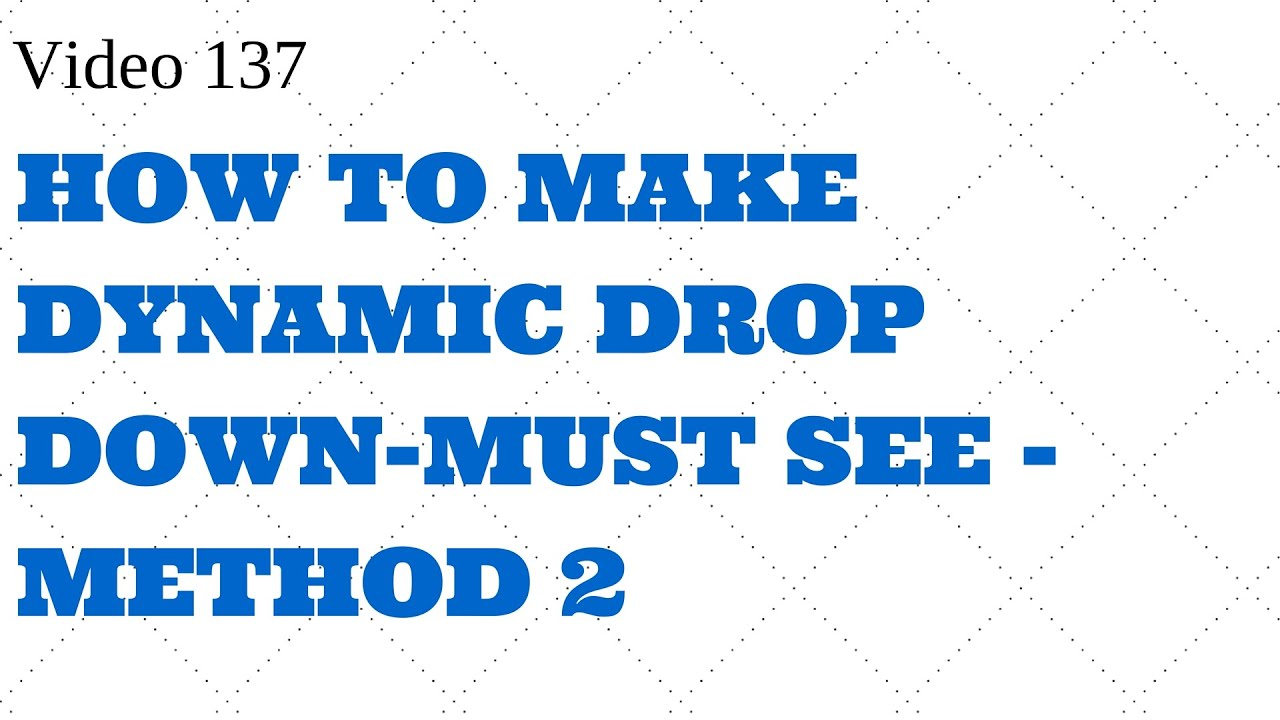 Learn Excel -Video 138- Dynamic Drop Down - Using Form Controls ...