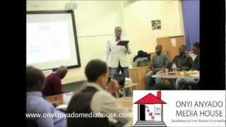 Onyi Anyado delivering a keynote presentation on goals at 'Raise Your Game' Seminar. Part