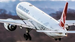 BOEING 777 super close-up LANDING and DEPARTURE (4K)