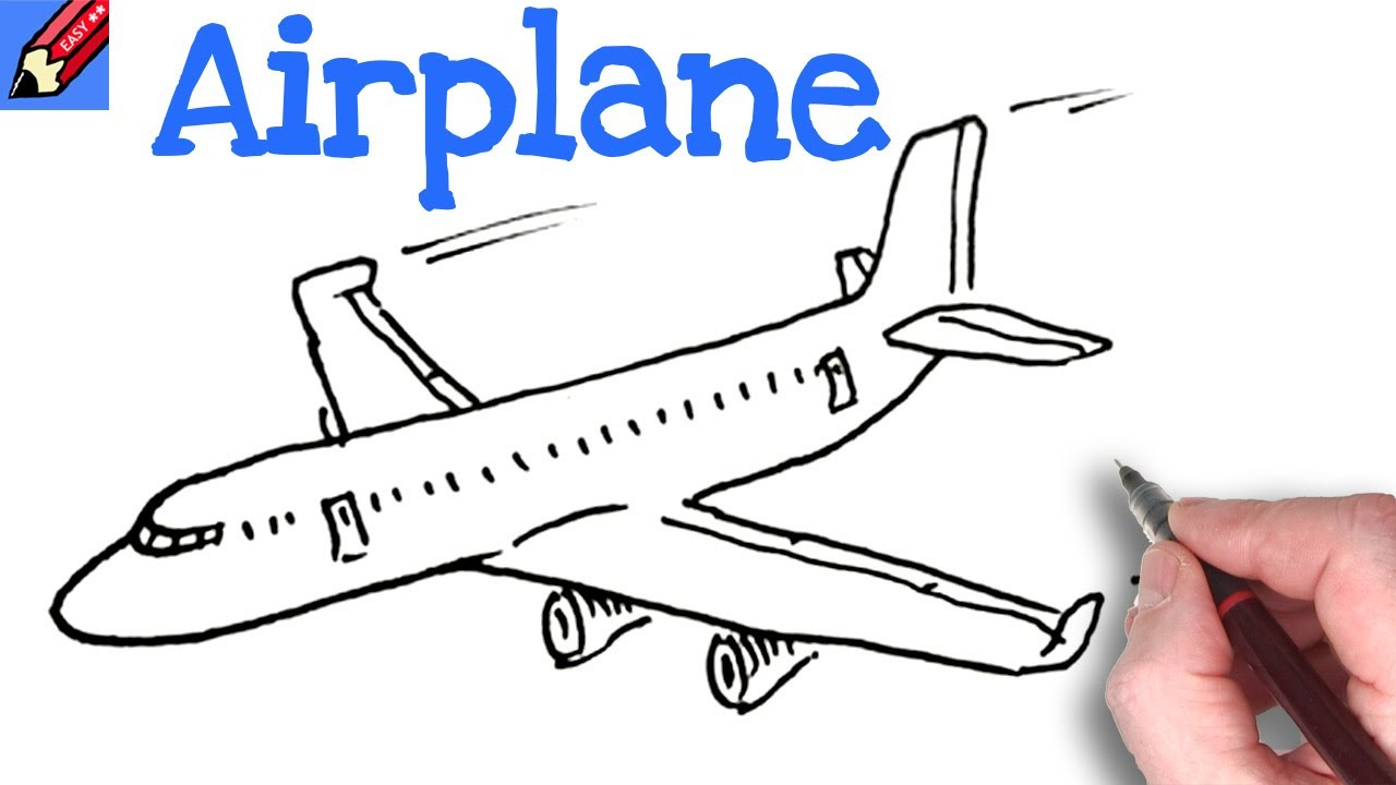 Draw A Plane Real Easy Step By Step Drawing Tutorial Youtube