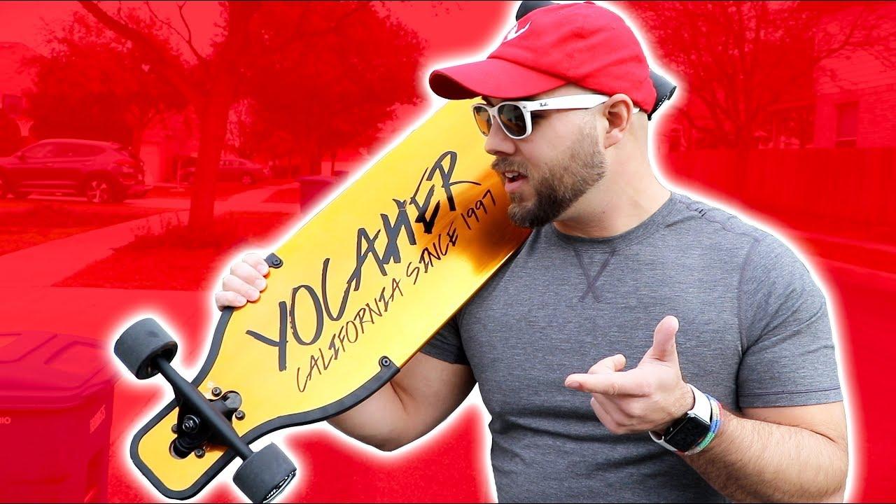 INSANE GOLD LONGBOARD!! ** yocaher aluminum longboard is lit **