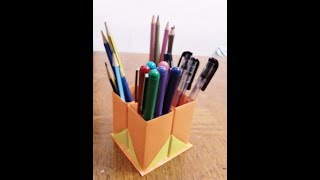 How to make a paper pen and pencil holder ll  Paper craft