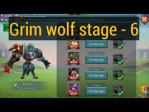 Grim Wolf 6 Stage | Without Rose Knight | Demon Slayer | #LordsMobile #Papalogen