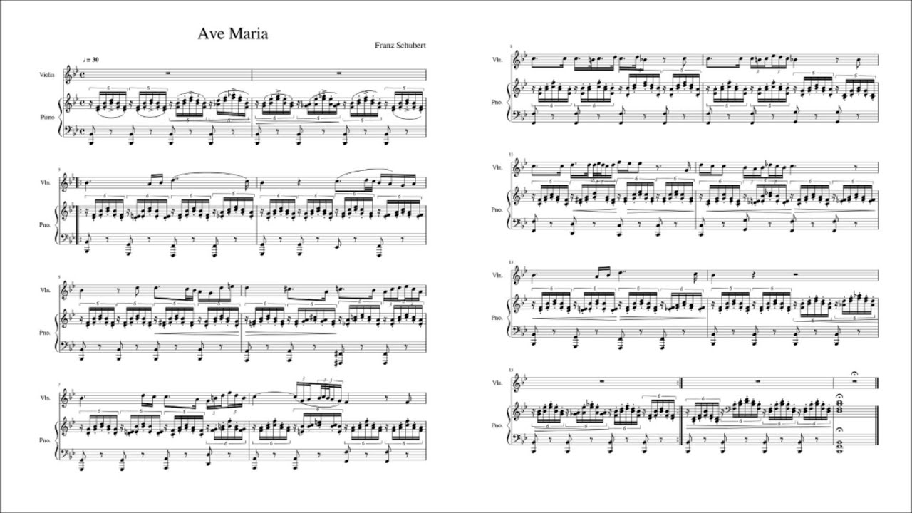 Famosos Ave Maria, D.839 (Schubert, Franz) - Violin and Piano Sheet Music  IJ29