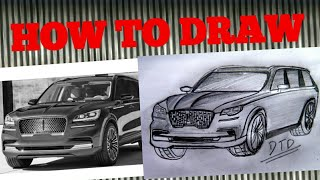 How to draw Lincoln Aviator 2019 Easily