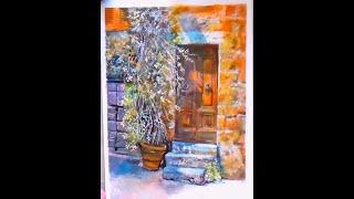 Акварель для начинающих. Поэтапный видеоурок! Рисуем дверь, стену, горшок с цветами
