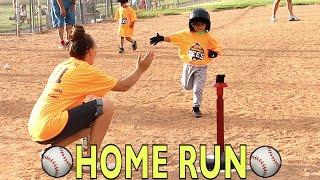 ⚾️HOME RUN AT FIRST TEE BALL BASEBALL GAME!