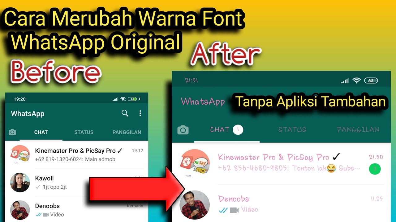 Cara Merubah Warna Font Wahtsapp Original Tanpa Aplikasi Tambahan Youtube