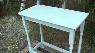 Vintage Painted Shabby Chic Side Table In Farrow And Ball Lamp Room Grey