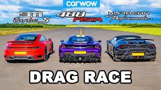 Porsche 911 Turbo S vs Ferrari 488 Pista vs Lamborghini Huracán Performante - DRAG RACE