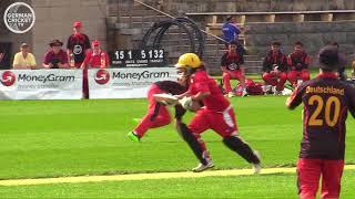 Aidan Andrews batting for U/19 Swiss Cricket v Germany in Berlin
